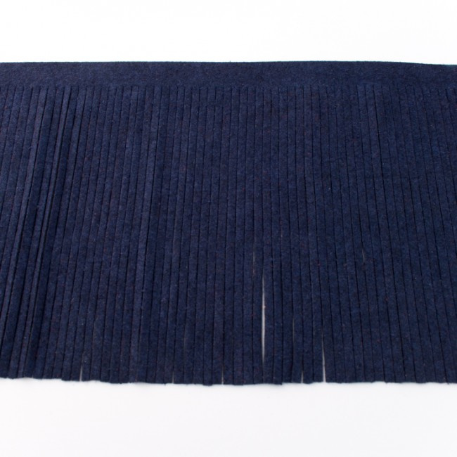 Suedine franjeband | Donkerblauw 30352 | 12cm breed