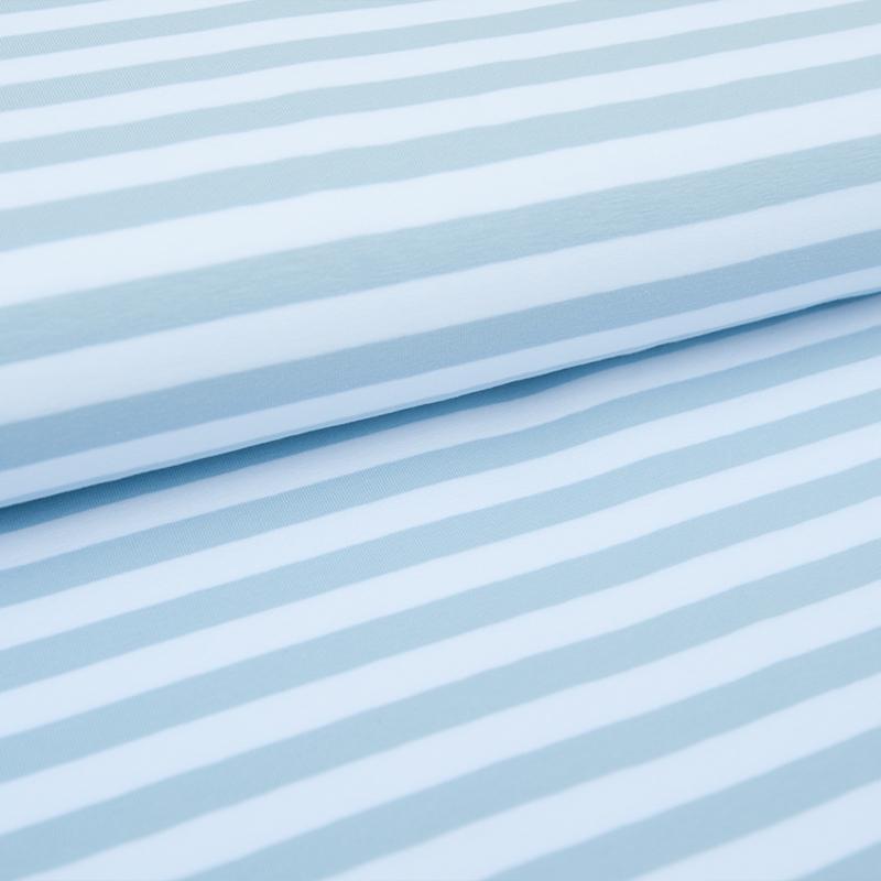 Tricot Streep   Wit - Lichtblauw