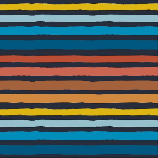 French Terry  Print | Painted Stripes - Terra - Blue