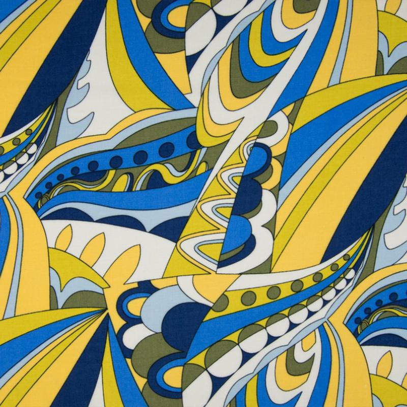 Viscose Chally | Retro Print | Blue - Yellow - Olive