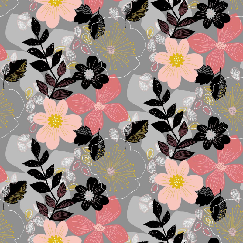 Soft Sweat GOTS | Florals - Grey