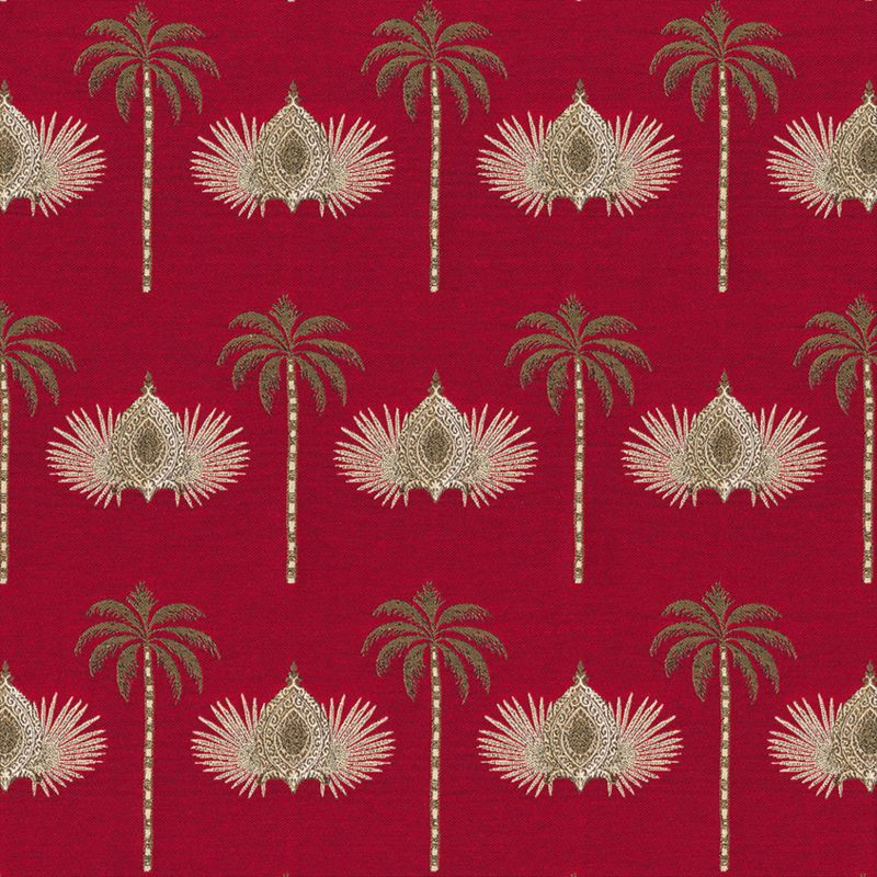 Jaquard Double Face | Oriental Palmtree | Red