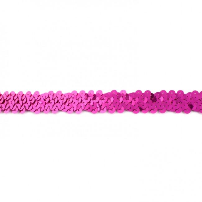 Pailettenband rekbaar | Donker Fuchsia
