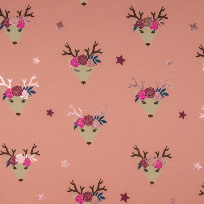 Tricot Print   Fancy Deer - Foil Print - Glitter - Pink 70 x 145