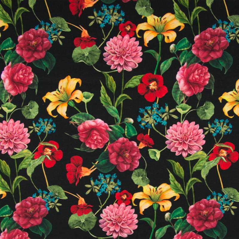 Tricot digitaal | Flowers on black background