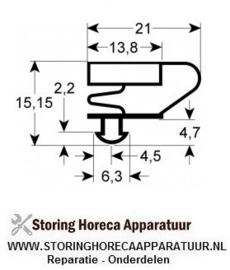 169901654 - Koeldeurrubber profiel 9704 B 360mm L 595mm steekmaat  AFINOX