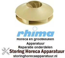 125510608 - Pompschoep ø 93mm H 32mm asafname ø 9/8mm messen 6 binnenhoogte 11mm voor waspomp vaatwasser RHIMA