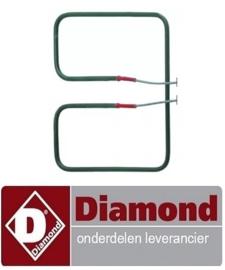 ST1D02140 - Verwarmingselement 750W 230V L 175mm B 212mm H 22mm pijp ø 6,3mm B1 90mm B2 33mm DIAMOND