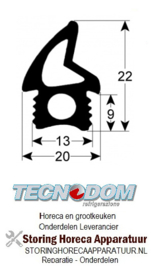 178902483 - Deurrubber profiel 2763 L 1800mm TECNODOM