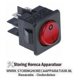 233345013 - Wipschakelaar inbouwmaat 27,8x25mm rood 2NO 250V 16A verlicht 0-I aansluiting vlaksteker 6,3mm