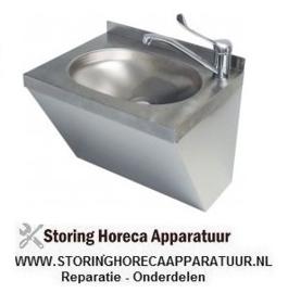 042542324 - Handenwasbak RVS B 500mm D 400mm H 390mm bassin mm met eenhendel eengatsmengkraan