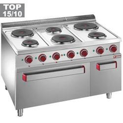 E7/6PFA11 - Elektrisch fornuis met 6 ronde platen, elektrische oven GN 2/1 en grill, met kast GN 1/1 DIAMOND