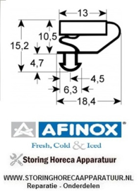 028900933 -  Koeldeurrubber profiel 9703 buitenmaat B 436mm L 616mm steekmaat B1 426mm L1 606mm AFINOX