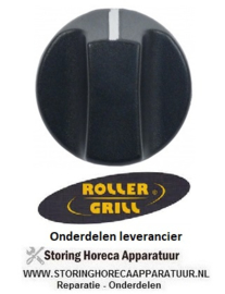 441110657- Knop schakelaar nulstreep ø 40mm as ø 6x4,6mm afvlakking onder zwart Roller-Grill