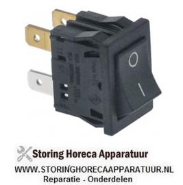 838347978 - Wipschakelaar inbouwmaat 19x13mm zwart 2NO 240V 6A aansluiting vlaksteker 4,8mm