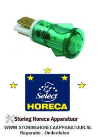 078A08009 - Signaallamp ø 12mm groen 230V aansluiting vlaksteker 6,3mm HORECA SELECT
