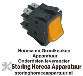 338345163 - Wiptaster inbouwmaat 30x22mm oranje 2CO 250V 16A verlicht aansluiting vlaksteker 6,3mm