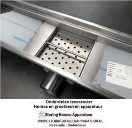 2.10.600.015 - Vloergoot RVS 632 x 232 x H187 mm met horizontale/zij uitloop