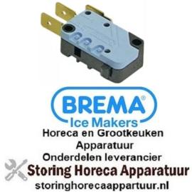 451345042 - Microschakelaar met drukstift pen bediend 250V 16A 1CO aansluiting vlaksteker 6,3mm L 28mm BREMA