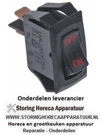280347828 - Wipschakelaar inbouwmaat 27,4x12,4mm zwart 1NO 250V 10A ON-OFF aansluiting vlaksteker 6,3mm