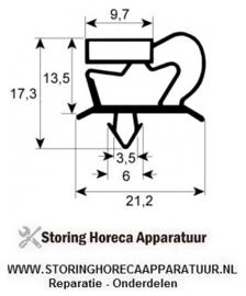 068900731 - Koelkast, vrieskast deurrubber profiel 9048 B 396mm L 566mm steekmaat  Friulinox, K+T, Lohberger, Olis, Polaris