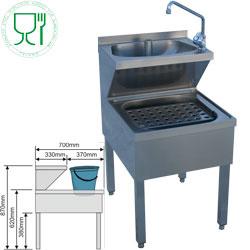 045.LMC-57 - Gecombineerde handwasbak op onderstel 500x700xh620/870 mm