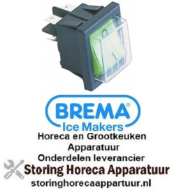 448300125 - Wipschakelaar inbouwmaat 30x22mm groen 2NO 230V 16A 0-I BREMA
