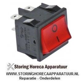 346346134 - Wipschakelaar inbouwmaat 19x22mm rood 2NO 250V 10A verlicht 0-I aansluiting vlaksteker 4,8mm