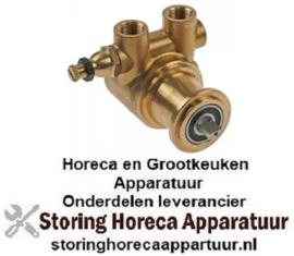 """479500064 -Drukverhogings pompkop PO204 FLUID-O-TECH L 82mm 200l/h aansluiting 3/8"""" GAS met bypass koper"""