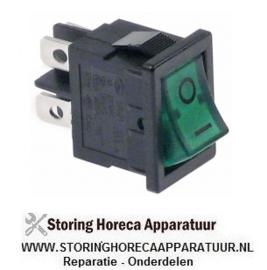 186301069 - Wipschakelaar inbouwmaat 19x13mm groen 2NO 250V 13A verlicht 0-I aansluiting vlaksteker 4,8mm