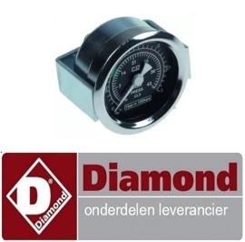 """6896.00000.60 - Manometer ø 41mm drukbereik 0-3bar met PSI-schaal draad 1/8"""" markering 0,8-1 aansluiting keerzijde DIAMOND COMPACT"""