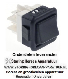 621345002 -  Wipschakelaar inbouwmaat 27,8x25mm zwart 2CO 250V 16A aansluiting vlaksteker 6,3mm