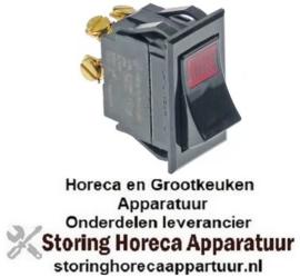 126347970 - Wipschakelaar inbouwmaat 37x21mm rood 2NO 250V 10A verlicht aansluiting schroefaansluiting