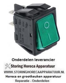 195301003 - Wipschakelaar inbouwmaat 30x22mm groen 2NO 250V 16A verlicht 0-I aansluiting vlaksteker 6,3mm