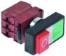401868 - Drukschakelaar tastend inbouw ø 22mm rood/groen 1NO/1NC/signaallamp 230V 6A signaallamp 24V