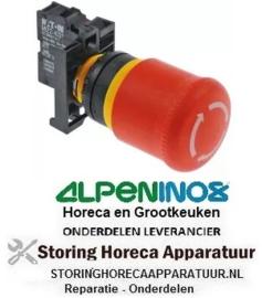 203348125 - Schakelaar inbouwmaat ø22mm rood compleet noodsituatie uitschakeling ALPENINOX