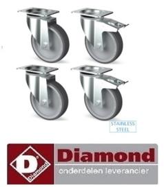 TIK4-L - Set 4 zwenkwielen R.V.S., 2 met rem DIAMOND