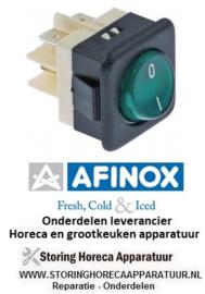 80274742010 - Wipschakelaar inbouwmaat 27,8x25mm groen 2NO 250V 16A verlicht AFINOX
