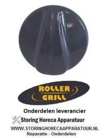 441112784 - Knop schakelaar nulstreep ø 40mm as ø 6x4,6mm afvlakking links zwart Roller-Grill