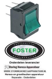 226301301 - Wipschakelaar inbouwmaat 28x22mm groen 2NO 250V 20A verlicht aansluiting vlaksteker 6,3mm FOSTER