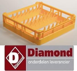 366DPP-15 - Mand 500 X 500 X H130 mm - 15 borden Ø 280 mm - polypropyleen voor vaatwasser DIAMOND