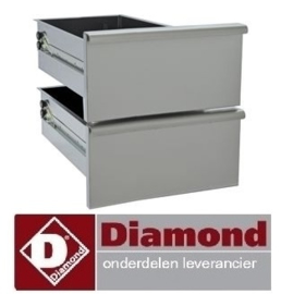 325N60/2TR3 - Ladenblok set van 2 laden, onderstel 300 mm RVS DIAMOND