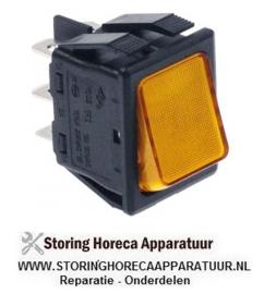 1524.03010.16- wipschakelaar inbouwmaat 30x22mm oranje 2CO 250V 16A verlicht aansluiting vlaksteker 6,3mm