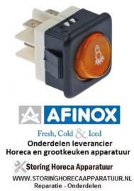 13774742012 - Wipschakelaar inbouwmaat 25x25mm geel 2NO 250V 16A verlicht verlicht AFINOX