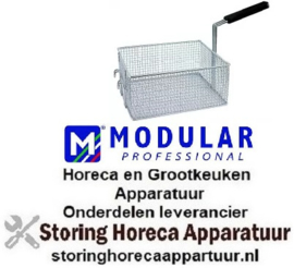 512970331 - Frituurmand L1 290mm, B1 260mm, H1 140mm, L2 460mm, H2 210mm, H3 240mm staal verchroomd MODULAR