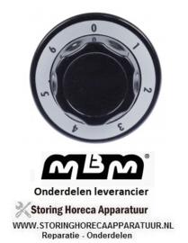 381111465 - Knop 7-standen ø 70mm as ø 6x4,6mm afvlakking universeel zwart MBM