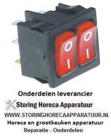 640346552 - Wipschakelaar inbouwmaat 19x22mm rood 1NO/1NO 250V 10A verlicht 0-I aansluiting vlaksteker 4,8mm