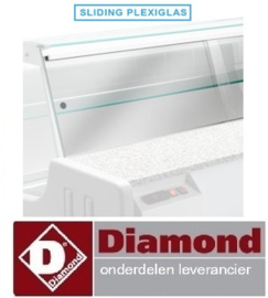 KIT-PX/MY20 - Schuivend afdek plexiglas voor gekoelde toonbank MELODY 2000 mm DIAMOND