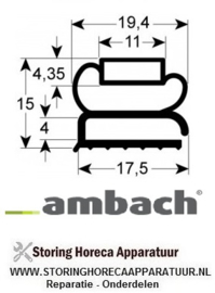 0265017304542  - Koeldeurrubber profiel 9207 B 210mm L 373mm buitenmaat AMBACH
