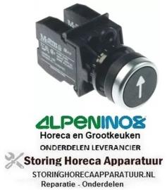 583346366 - Drukschakelaar tastend inbouwmaat ø22mm zwart 1NO/1CO pijl drukkend ALPENINOX